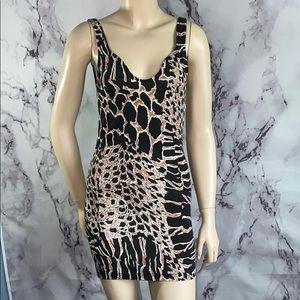 somedays lovin animal print bodycon dress Sz Xs